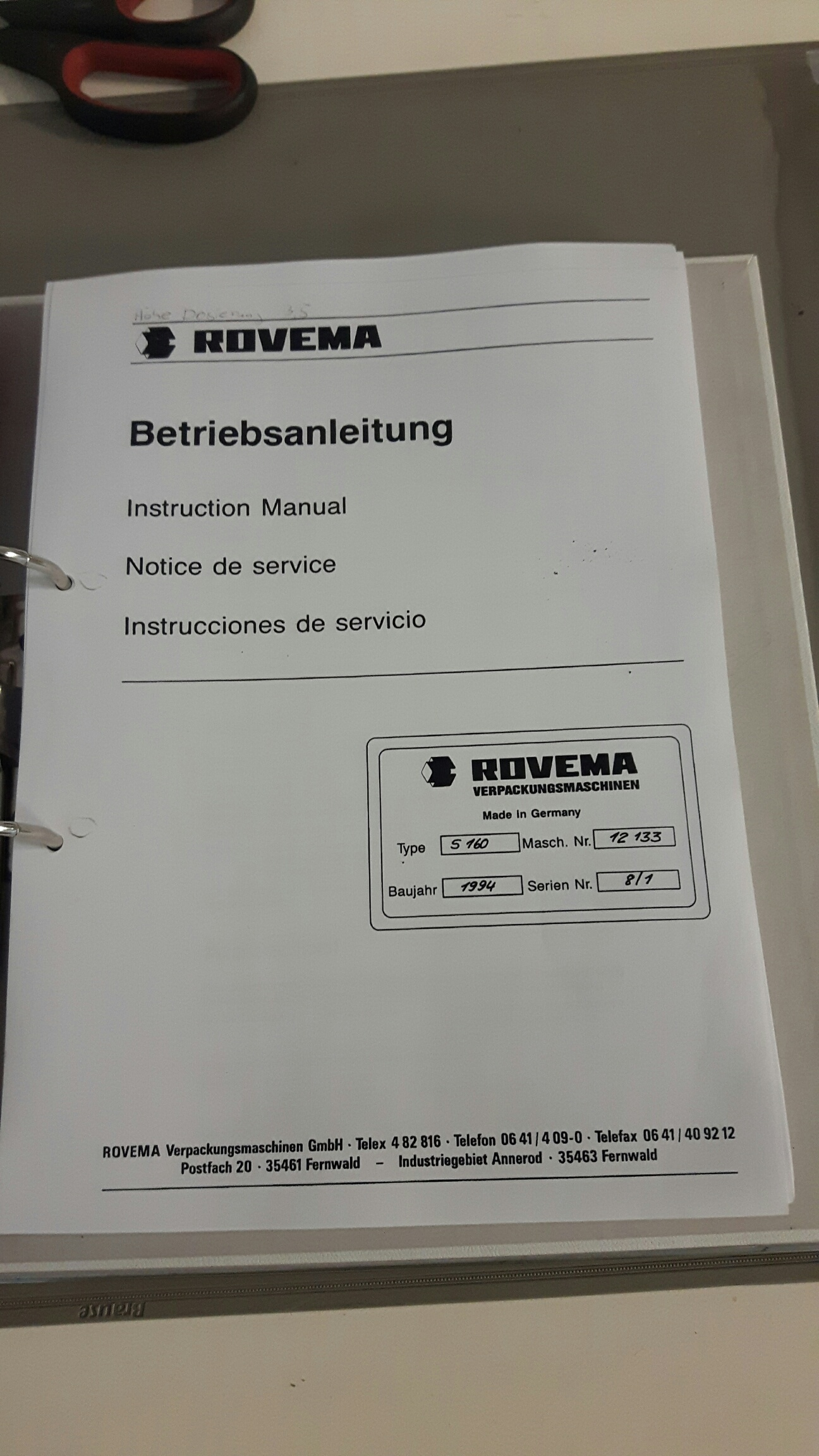 Rovema manual